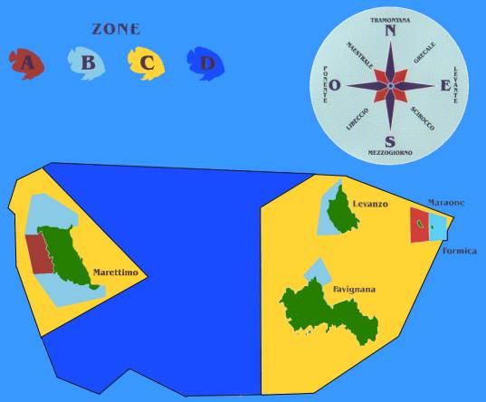 Le Zone dell'Area Marina Protetta delle Egadi